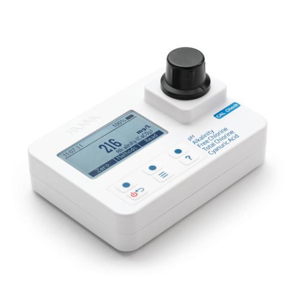 Fotometer alkaliniteit, vrije/totale chloor, pH en cyanuurzuur HI97104
