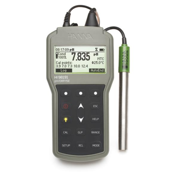 Waterbestendige draagbare meter voor pH/mV/ORP/ISE/°C HI98191